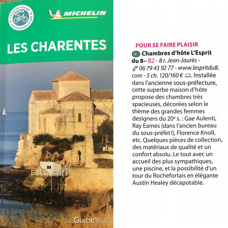 Find our guest house, L'Esprit du 8, with garden and swimming pool in Rochefort sur mer in Charente Maritime in the green guide 2020